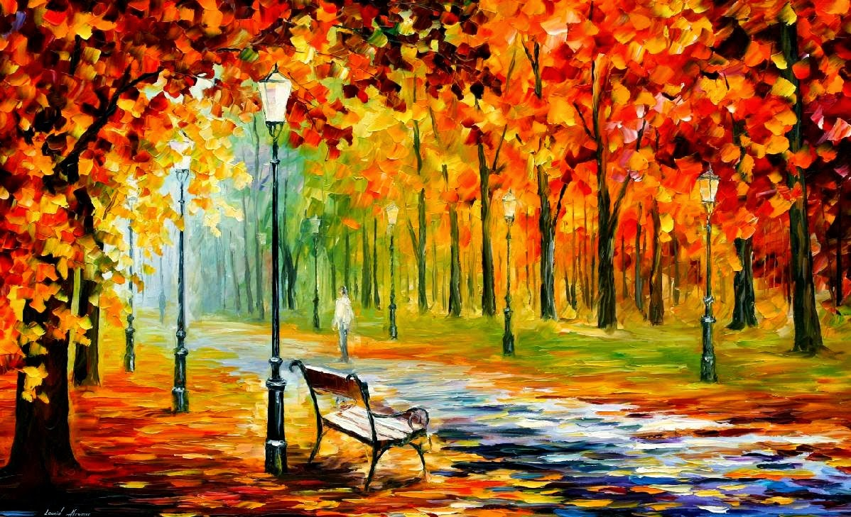 autumn fall painting wallpaper leonid afremov silence of the fall