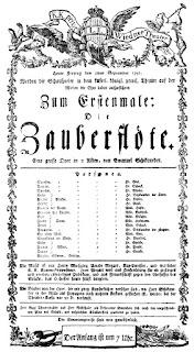 Cartel del estreno de La Flauta Mágica, el 30 de septiembre de 1791, con Anna Gottlieb en el papel de Pamina.