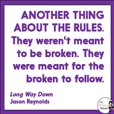 Long Way Down by Jason Reynolds is written in verse and is a quick read that will leave you with more questions than answers at the end. The moral dilemma of the main character and the connections students might make with their own lives make this a book to highlight, rather than just include in your classroom library. Read on for more of my review and ideas for classroom application.