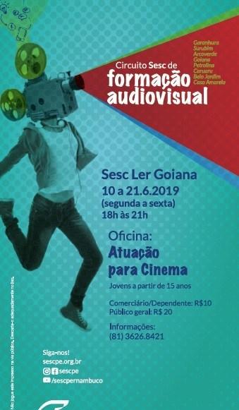 Sesc abre inscrições para oficina de cinema em Goiana