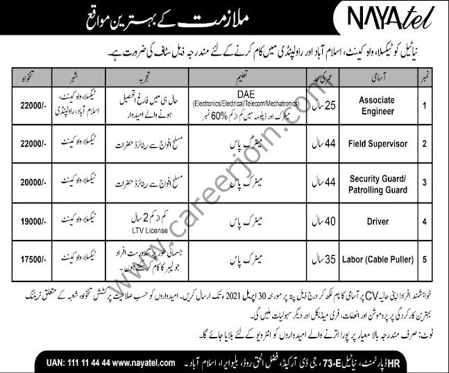 Nayatel Pakistan Latest New Jobs in April 2021