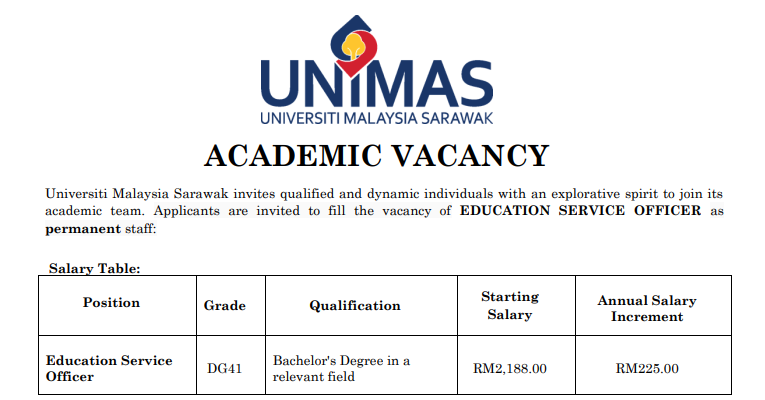 Jawatan Kosong Pegawai Perkhidmatan Pendidikan di Universiti Malaysia Sarawak UNIMAS