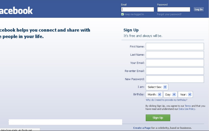 Facebook main site login not mobile