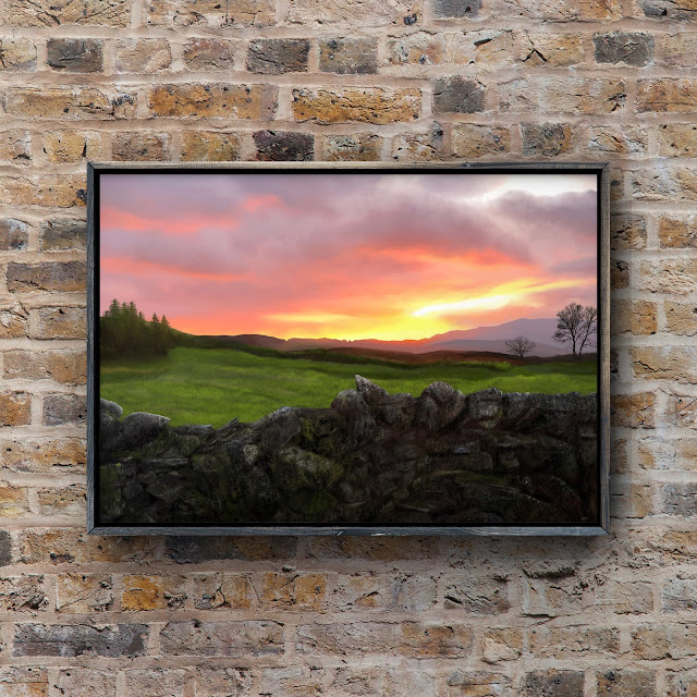 dry stone wall, sunset, art