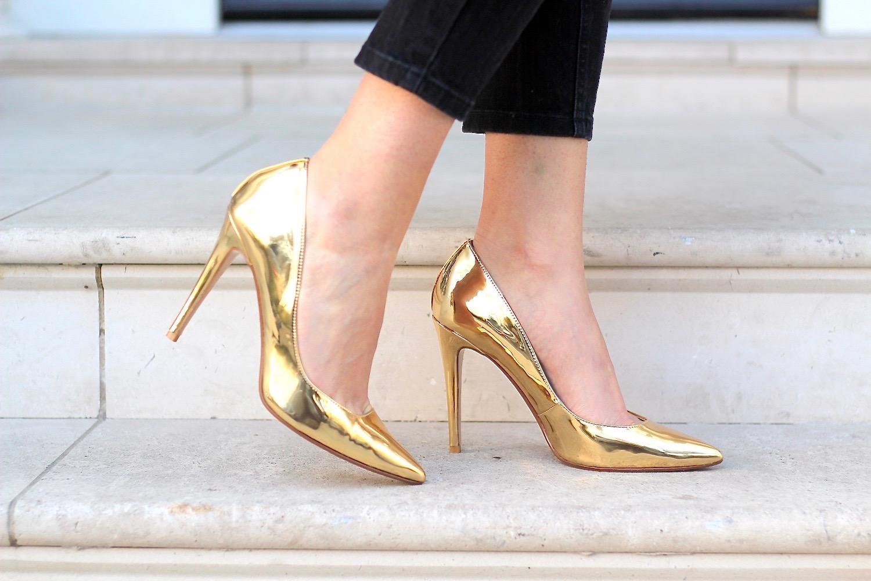 festive gold heels dune