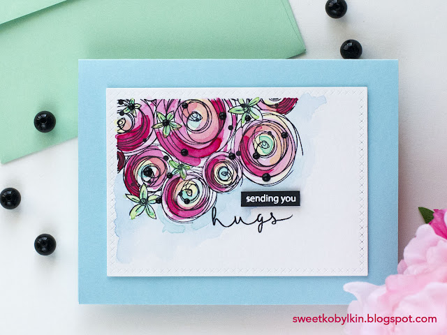 Simple Watercolored Card with Flowers