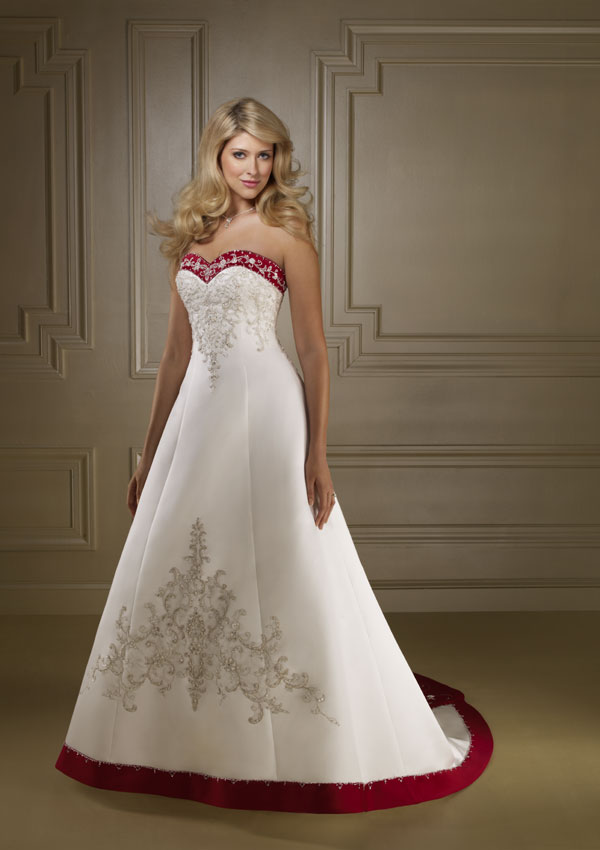 Elegant bridal style timeless and elegant red and white for Red and white wedding dresses 2012