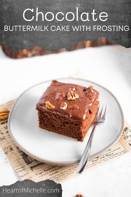 Slice of chocolate cake on a dessert plate