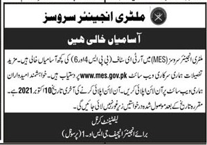 Military Engineer Services MES Jobs 2021-jobs.mes.gov.pk