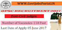 Public Service Commission Recruitment 2017– 110 Civil Judges