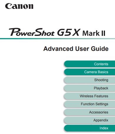 Canon PowerShot G5 X Mark II Camera User Guide / Manual