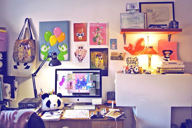 Atelier of Artist Ben Liu, Panda Benda home, Montreal fashion illustrtor Ben Liu