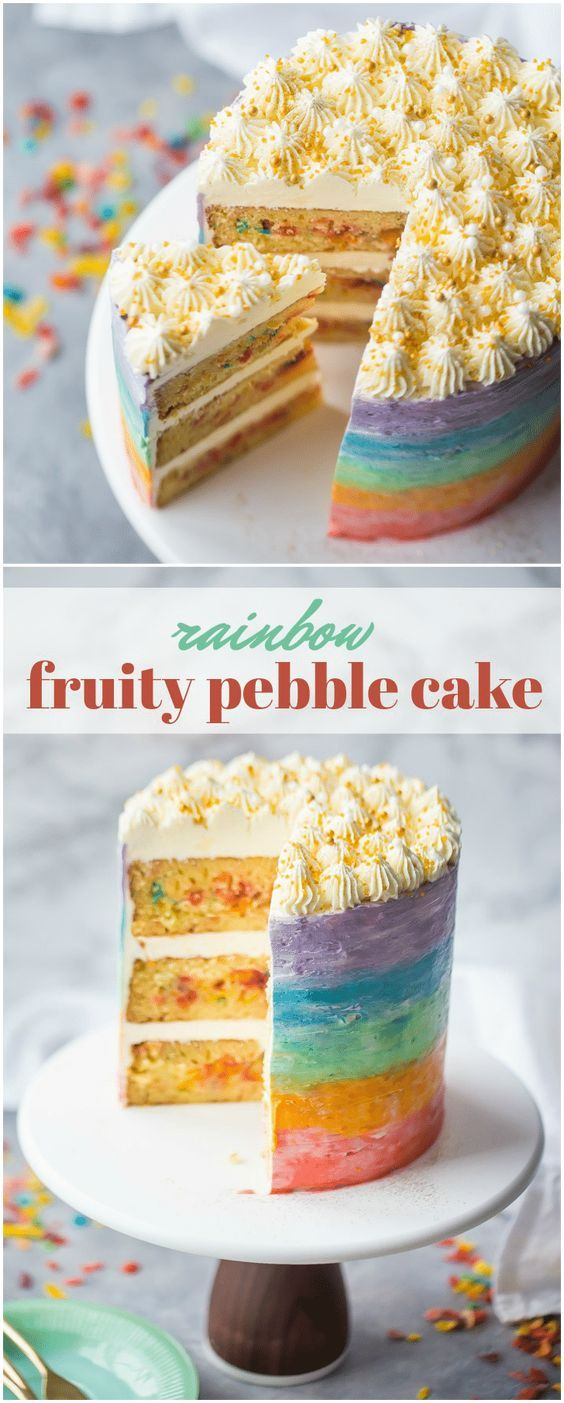 Rainbow Fruity Pebble Cake