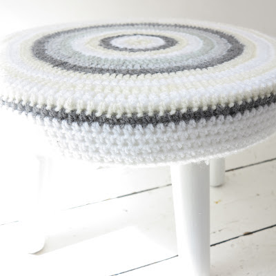 thrifted, crochet, stool, white floor, Haafner, handmade