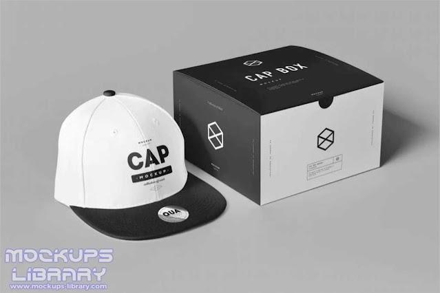 Cap Mockup With Box