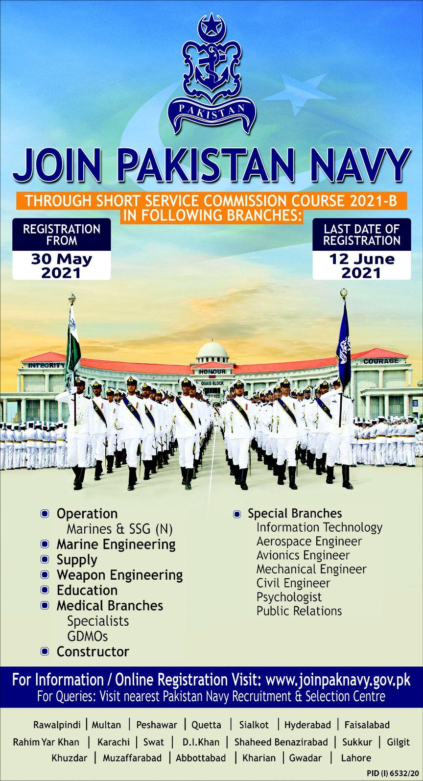 Join Pakistan Navy as Short Service Commissioned SSC Officer Jobs 2021 Latest Vacancies - Pakistan Navy Jobs 2021 Online Registration