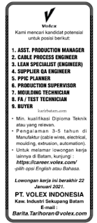 Lowongan Kerja PT. Volex Indonesia Sekupang (Ditutup 22 Januari 2021)