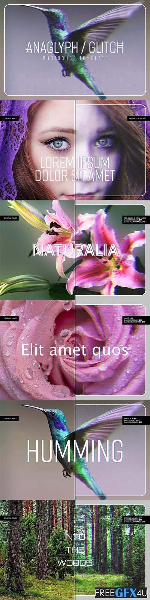 Anaglyph/Glitch Photoshop PSD Template