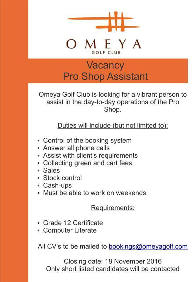 only shortlisted candidates will be contacted - Golf Assistant Jobs