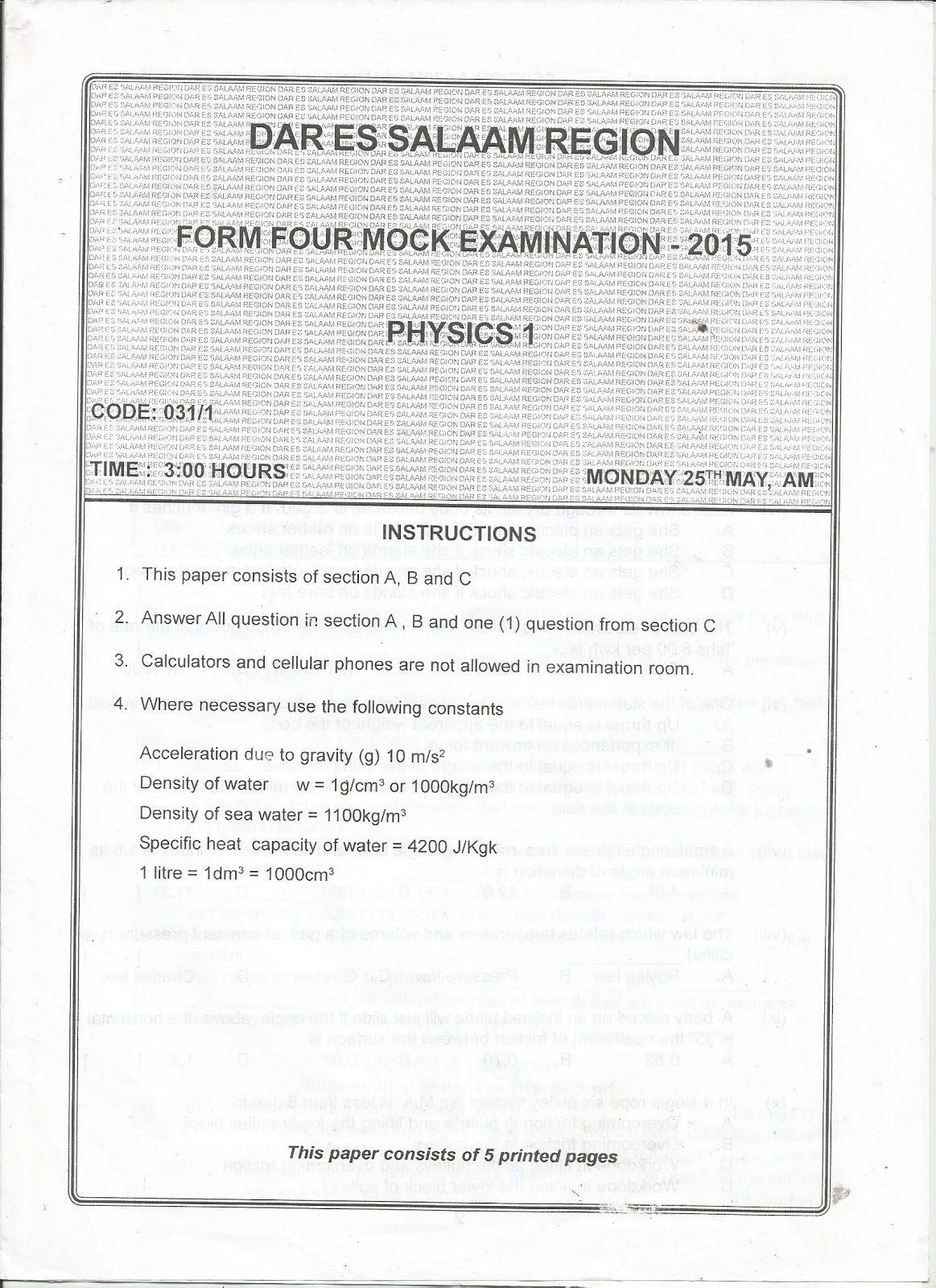 MWALIMU HERMAN BLOG: FORM FOUR PAST PAPERS