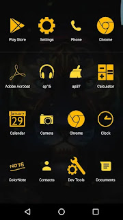 yellow lion theme app drawer screenshot