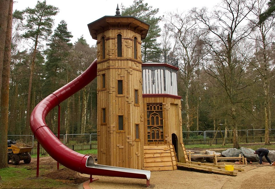 The Duke and Duchess of Cambridge took Prince George, Princess Charlotte and prince Louis to new Sandringham Play park