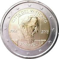 vatikaani 2 euroa kolikko padre pio 2018