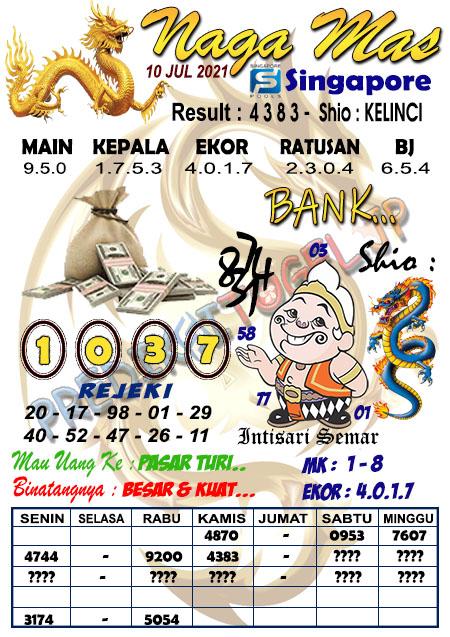 Syair Naga Mas SGP Sabtu 10 Juli 2021