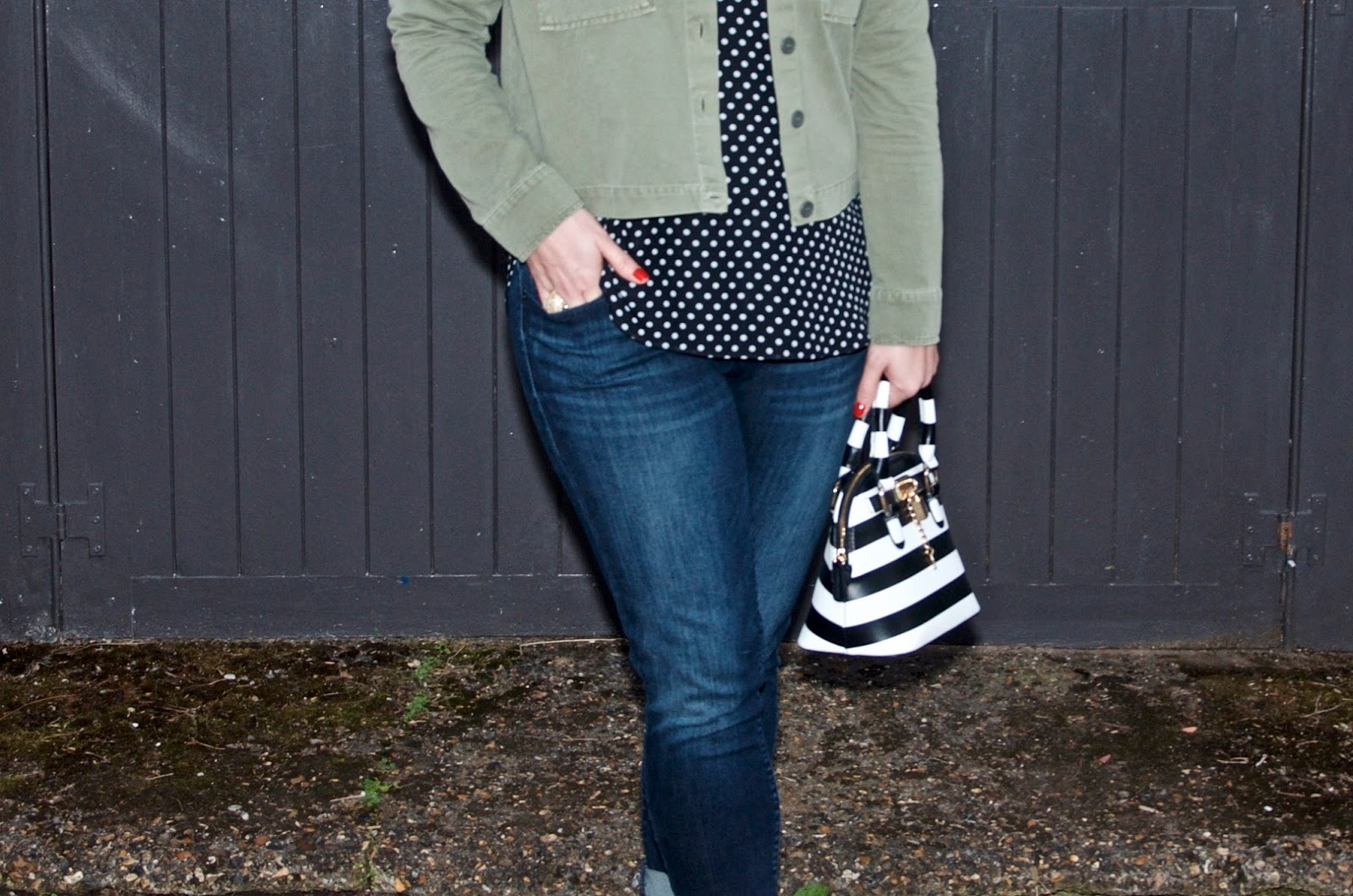 polka dots and olive jacket