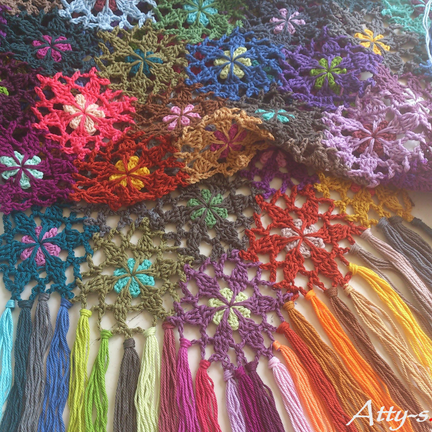 Attys Crochet Flower Scarf Made With Leftovers