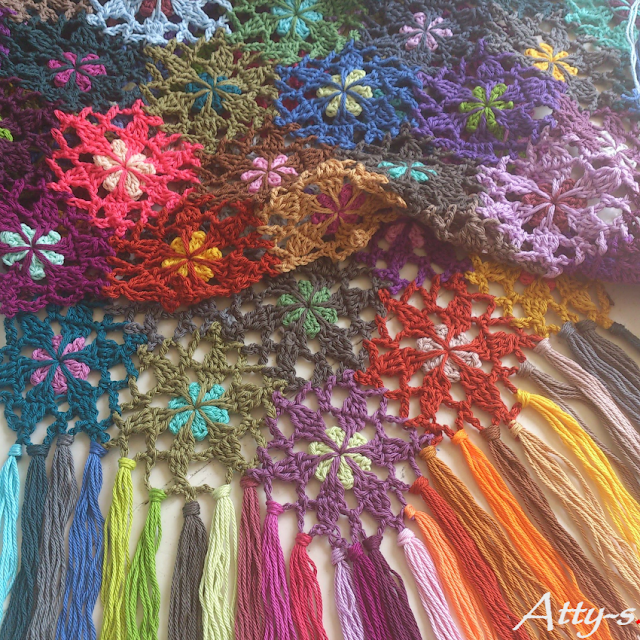 Crochet Flower Scarf made with leftovers