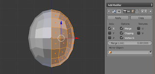 Applying the mirror modifier.