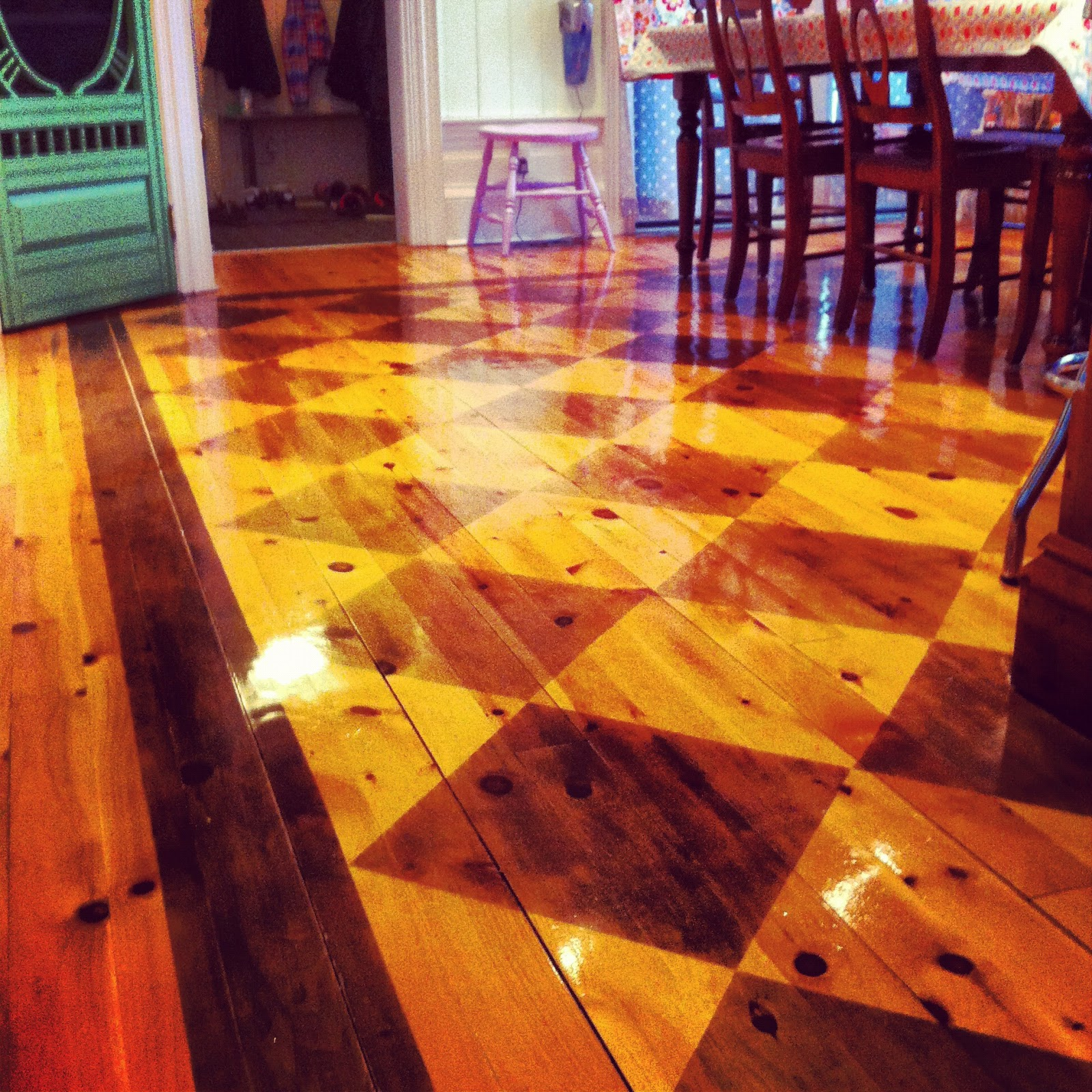 Painting Wooden Floors: Do You Love Him Loretta?: Checkerboard Painted Floors