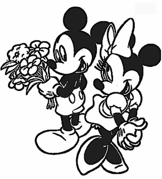 Coloring Pages Mickey Mouse and Minnie Mouse Valentine's Day