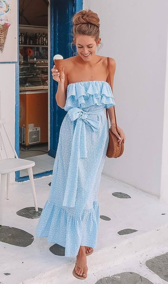 what to wear this season : ruffle maxi dress + crossbody bag + slides