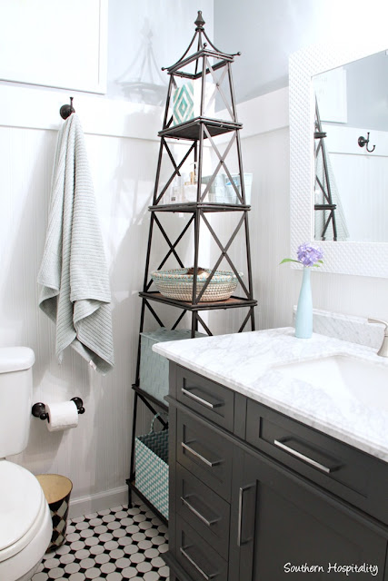 classic black and white bathroom redo