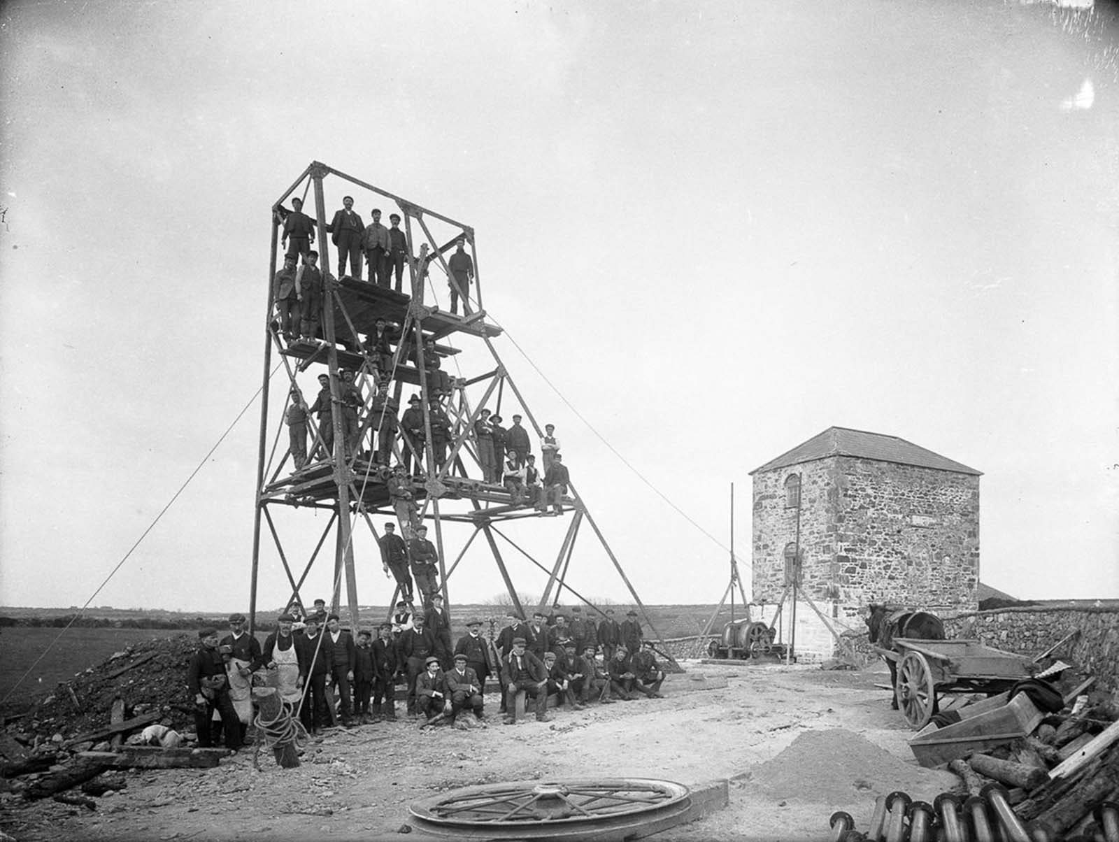 Workers at a mine in Knockmahon, County Waterford. 1906.
