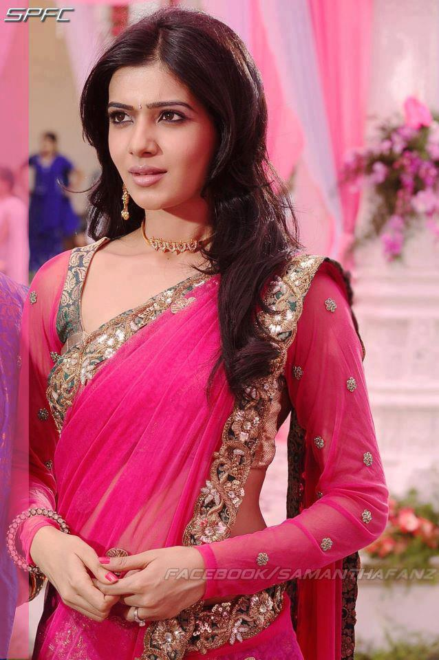 pink saree and full sleeve blouse