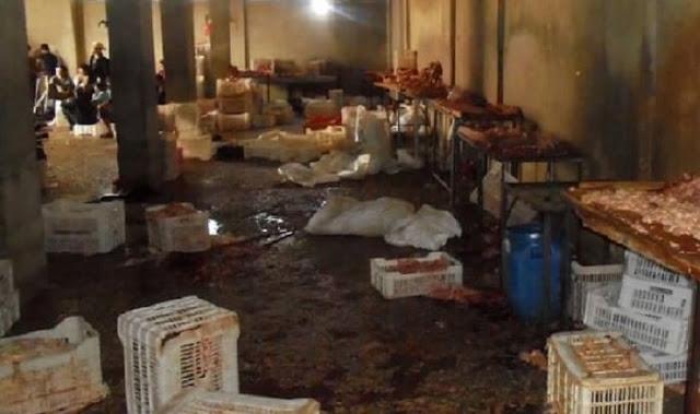 بالصور:ضبط اطناناً من بقايا الفروج الفاسد ضمن مسلخ في مدينة داريا بريف دمشق!