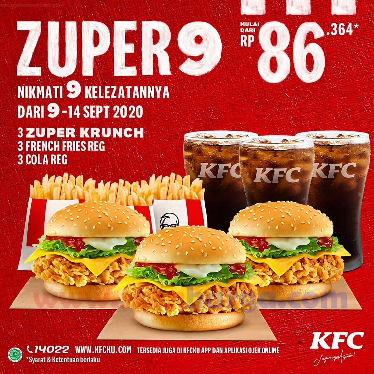 KFC ZUPER 9 Promo Paket [3 Zuper Krunch + 3 French Fries + 3 Cola Reg] Mulai Dari Rp 86.364