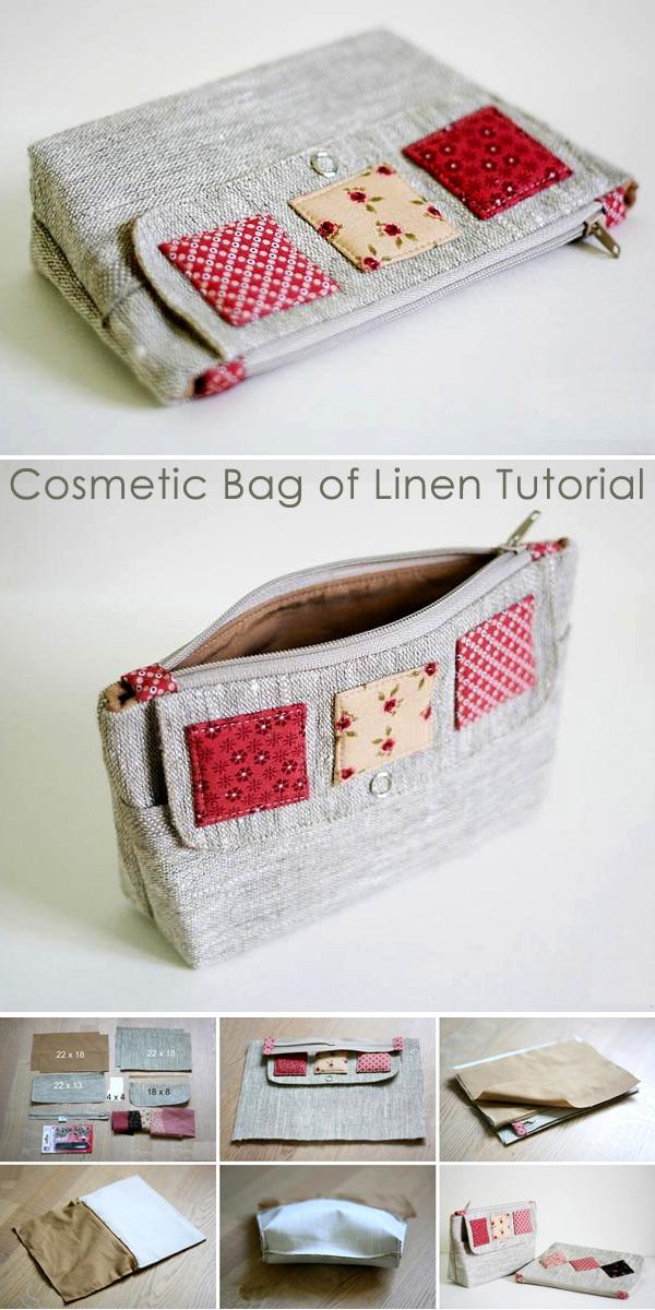 Cosmetic Bag of Linen Tutorial