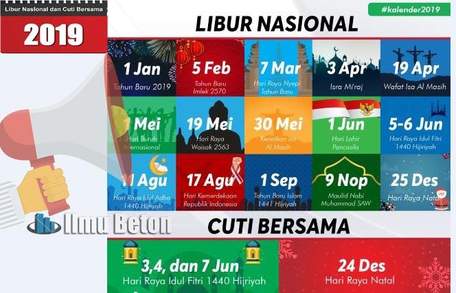 Tanggal Merah Hari Libur Nasional Dan Cuti Bersama Tahun 2019 Ilmu Beton