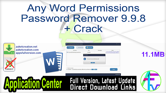 Any Word Permissions Password Remover 9.9.8 + Crack