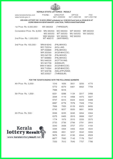 kerala lottery results 26-08-2019 WIN-WIN LOTTERY NO. W-525th-
