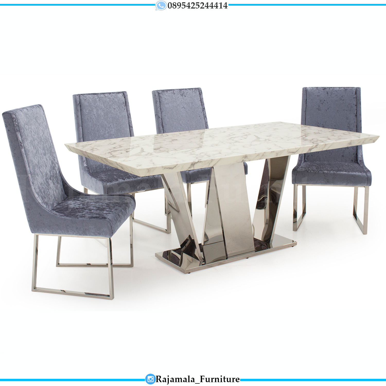 Meja Makan Minimalis Modern Stainless Steel Luxury Style RM-0276