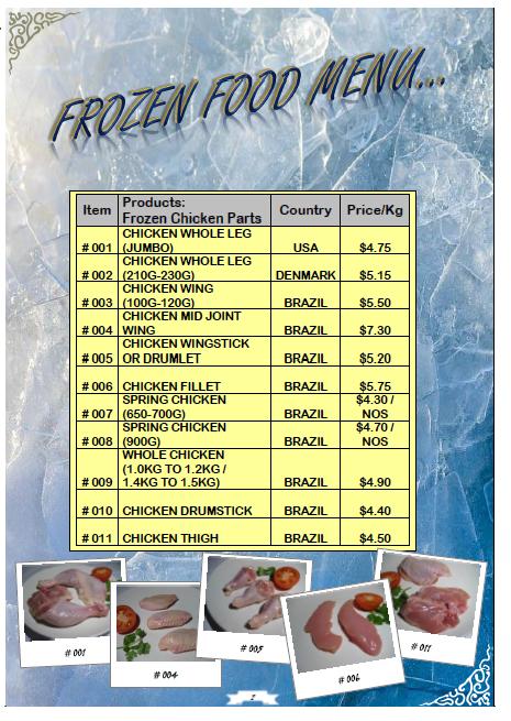 FROZEN FOOD!SE : FROZEN FOOD MENU PRICE LIST