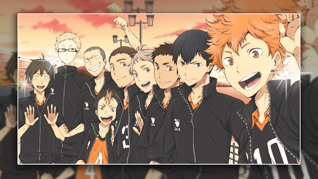 Anime volleyball male players from Karasuno high smiling with friends