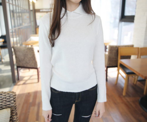 Collared Ribbed Knit Top