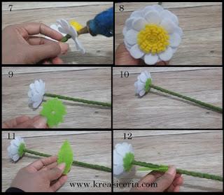 Tutorial cara membuat bunga daisy dari kain flanel part 2