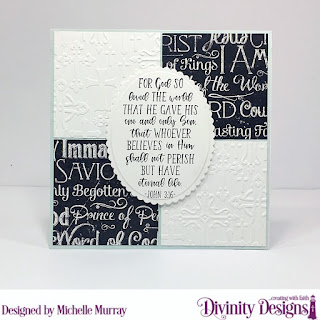 Divinity Designs Stamp Set:: John 3:16, Custom Dies: Scalloped Ovals, Ovals Embossing Folder/Die Duo: Cross, Paper Collections: Chalkboard, Pastel